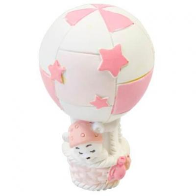 Figurine ourson en montgolfière rose et blanc en résine (x1) REF/RES403CF