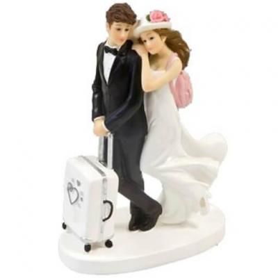 Figurine couple de mariés voyage de noce pour pièce montée de mariage (x1) REF/SUJ4991