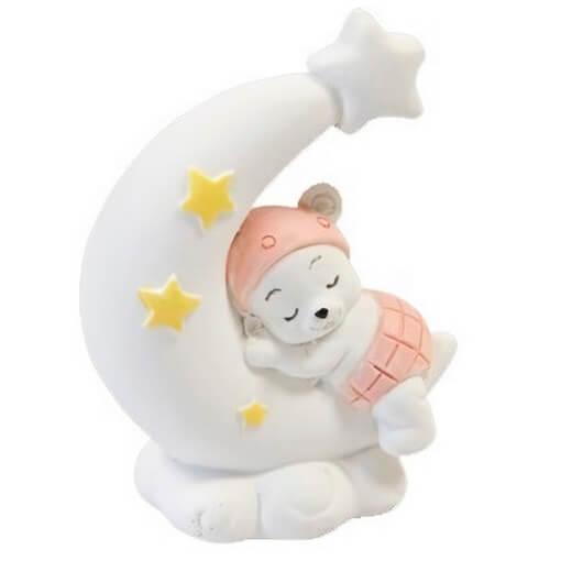 Figurine sujet fille rose sur lune en resine