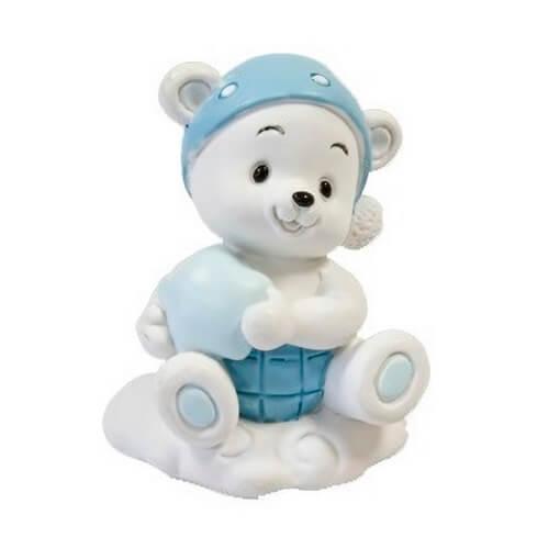 Figurine sujet ourson bleu en resine