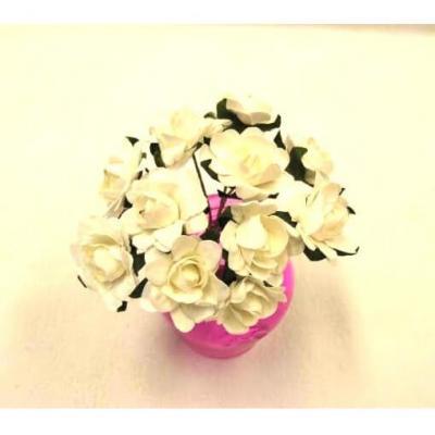 Bouquet de 12 fleurs blanches en papier (x1) REF/FL628