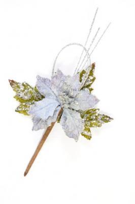 Fleur décorative poinsettia argent (x1) REF/DEC739