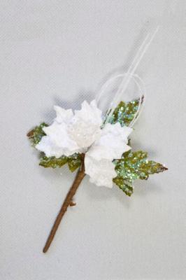 Fleur décorative poinsettia blanche (x1) REF/DEC739