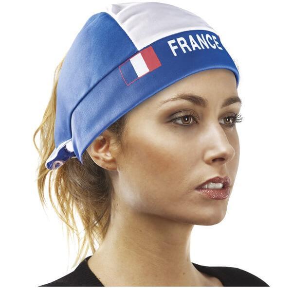 Foulard pour cheveux tricolore france supporters bleu blanc rouge