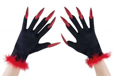 Gants noirs avec ongles rouges Halloween (x1) REF/16107