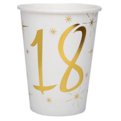 Gobelet anniversaire blanc et or métallisé 18ans (x10) REF/6157
