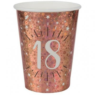 Gobelet anniversaire 18 ans rose gold étincelant (x10) REF/7349