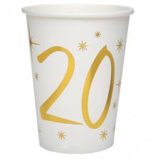 Gobelet anniversaire blanc et or métallisé 20ans (x10) REF/6157