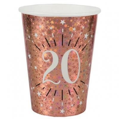 Gobelet anniversaire 20 ans rose gold étincelant (x10) REF/7349