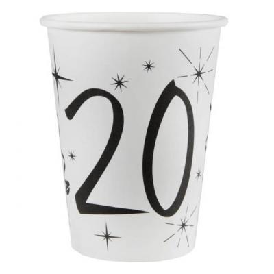 Gobelet blanc anniversaire 20ans (x10) REF/5242