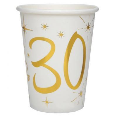 Gobelet anniversaire blanc et or métallisé 30ans (x10) REF/6157