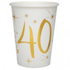 Gobelet anniversaire blanc et or 40ans (x10) REF/6157