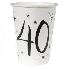 Gobelet blanc anniversaire 40ans (x10) REF/5242