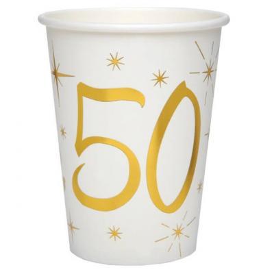 Gobelet anniversaire blanc et or métallisé 50ans (x10) REF/6157
