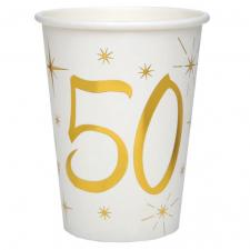 Gobelet anniversaire blanc et or 50ans (x10) REF/6157