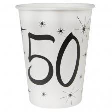 Gobelet blanc anniversaire 50ans (x10) REF/5242