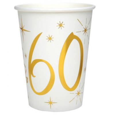 Gobelet anniversaire blanc et or métallisé 60ans (x10) REF/6157