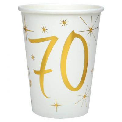 Gobelet anniversaire blanc et or métallisé 70ans (x10) REF/6157