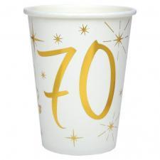 Gobelet anniversaire blanc et or 70ans (x10) REF/6157