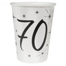 Gobelet blanc anniversaire 70ans (x10) REF/5242