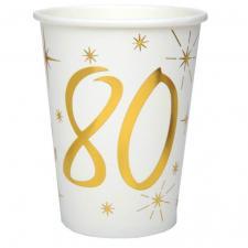 Gobelet anniversaire blanc et or 80ans (x10) REF/6157