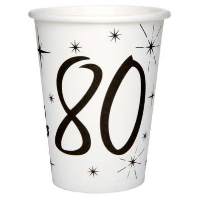 Gobelet blanc anniversaire 80ans (x10) REF/5242