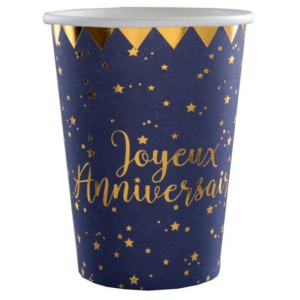 Gobelet anniversaire bleu et or