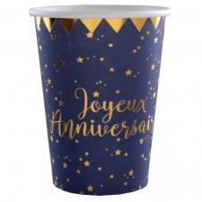 Gobelet anniversaire bleu et or (x10) REF/5669