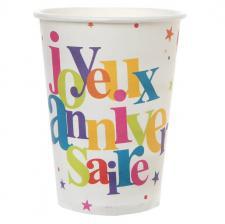 Gobelet joyeux anniversaire festif (x10) REF/4779