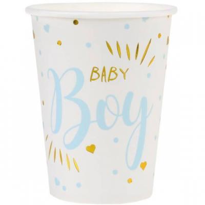 Gobelet Baby Shower Boy en blanc, bleu ciel et or métallisé 27cl (x10) REF/7253