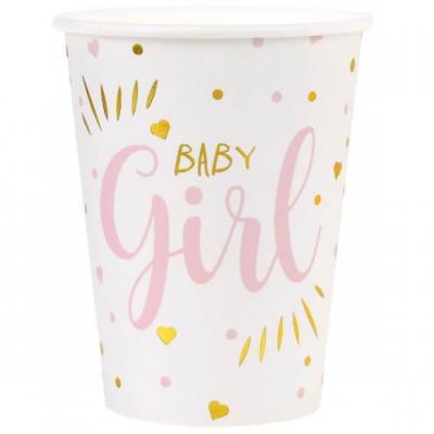 Gobelet Baby Shower Girl en blanc, rose et or métallisé 27cl (x10) REF/7253