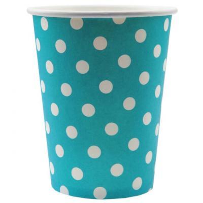 Gobelet bleu turquoise avec pois (x10) REF/3541
