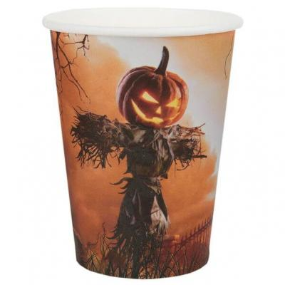Gobelet en carton Halloween thème citrouille (x10) REF/7415
