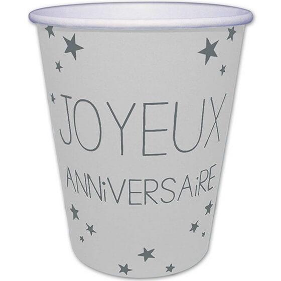 Gobelet en carton joyeux anniversaire blanc