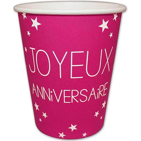 Gobelet en carton joyeux anniversaire fuchsia 1