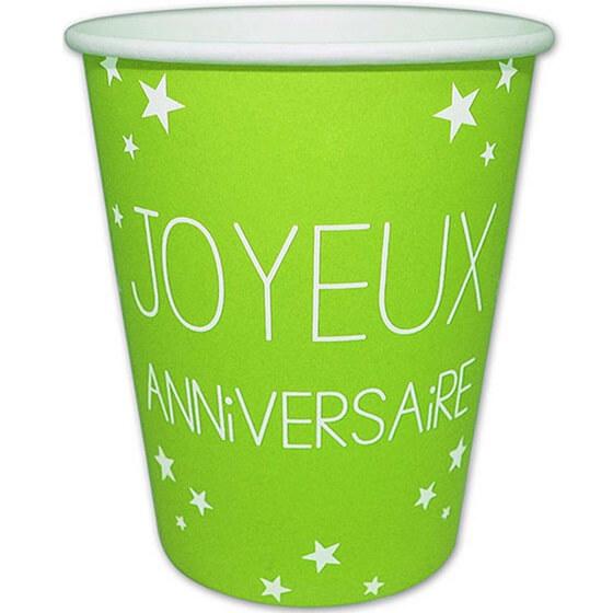 Gobelet en carton joyeux anniversaire vert 1