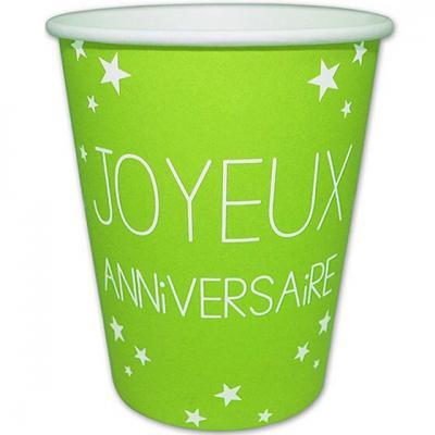 Gobelet joyeux anniversaire vert (x6) REF/GB25CL00V
