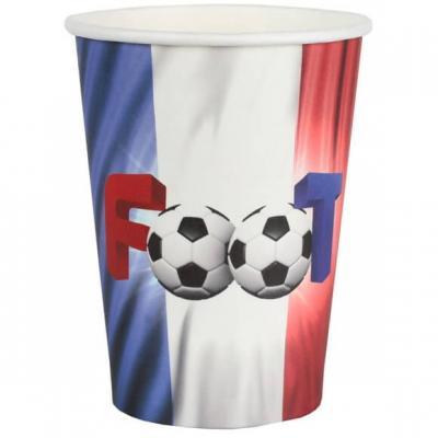 Gobelet football tricolore France en carton (x10) REF/6817
