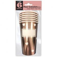 Grand gobelet coeur rose gold personnalisable 50cl (x6) REF/APGCRG