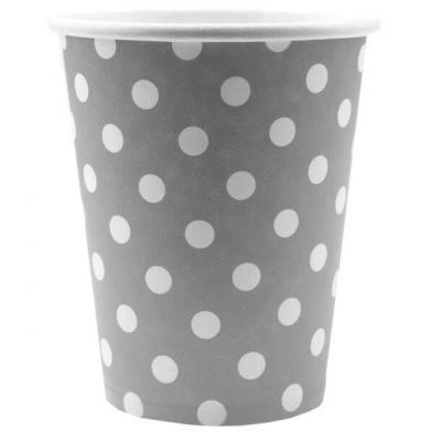 Gobelet gris avec pois (x10) REF/3541