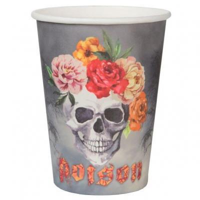 Gobelet en carton Halloween thème crâne ethnique (x10) REF/6560