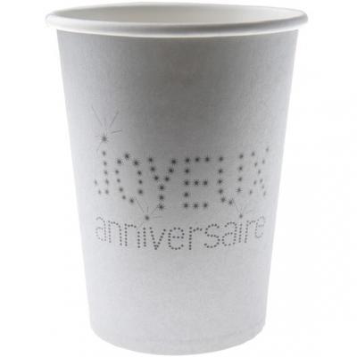 Gobelet joyeux anniversaire argent (x10) REF/4006