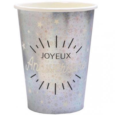 Gobelet joyeux anniversaire argent métallique (x10) REF/6648