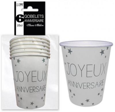 Gobelet joyeux anniversaire blanc (x6) REF/GB25CL00BA