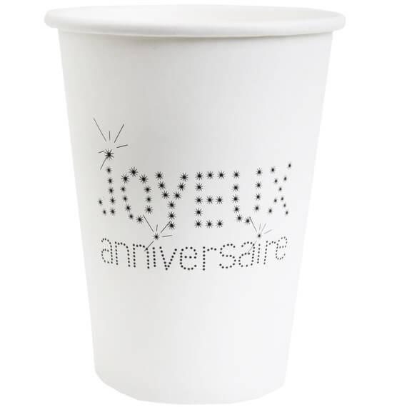 Gobelet joyeux anniversaire blanc en carton