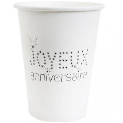 Gobelet joyeux anniversaire blanc (x10) REF/4006