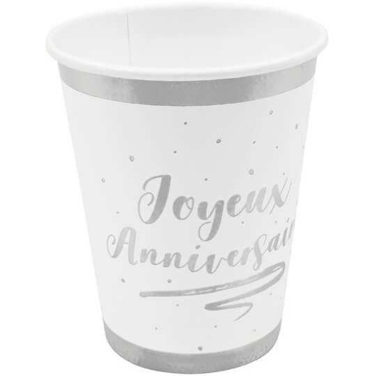 Gobelet joyeux anniversaire blanc et argent