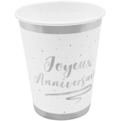 Gobelet joyeux anniversaire blanc et argent (x6) REF/JET004