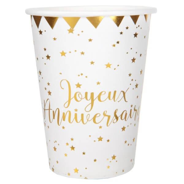 Gobelet joyeux anniversaire blanc et or metallise