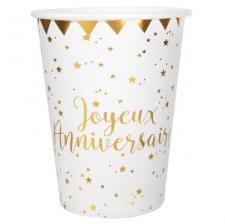 Gobelet anniversaire blanc et or (x10) REF/5669